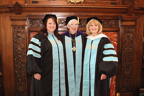 Honorary Doctorate Recipient Jennifer Mathile Prikkel '95, left, is pictured with President Carol Ann Mooney, center, and Prikkel's mother MaryAnne Mathile, a 2006 Honorary Doctorate recipient.