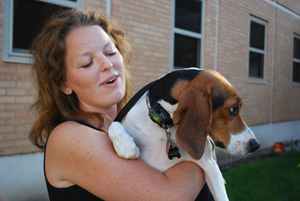 Meghan O'Rourke, a Saint Mary's College senior, brought her beagle Kelly to school with her this fall. She and Kelly will be roommates this year at Regina Hall South. This is the first year the college has allowed seniors to have pets on campus.