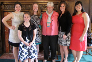 Saint Mary's College President Carol Ann Mooney poses with the 2011 OCSE Service Award Winners. From left  to right are Carla Leal '12, Aileen Hurd '12, Anne  Maguire '11, Claire Yancy '11 and Karen Borja '11.  Christina Losasso '11 is not pictured.