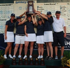 The Saint Mary's Golf Team with their fourth place trophy.