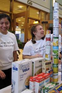 Students collect food for Walk for the Hungry and Holy Cross Harvest, two more hunger-related events going on at the College this week.