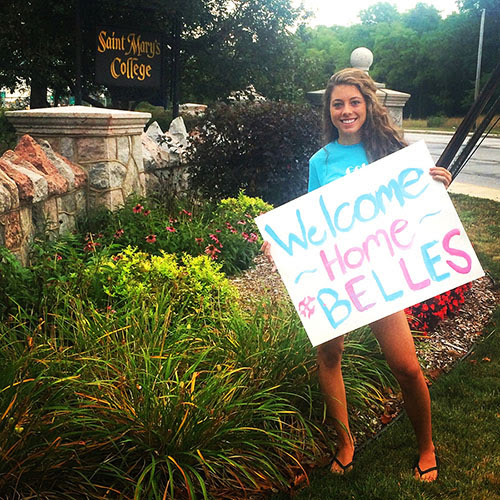 Saint Mary's student welcoming home Belles