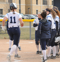 Jillian Busfield hit three home runs against Albion on Saturday.