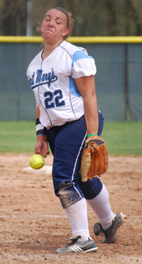 Callie Selner earned her eleventh pitching win of the season in game one against Franklin.