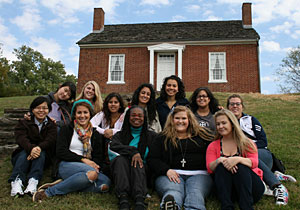 Silvia, back row, visited the Rankin House in Ripley, Ohio, one of the stops of the Underground Railroad. She visited with a group from the Center for Women's Intercultural Leadership.