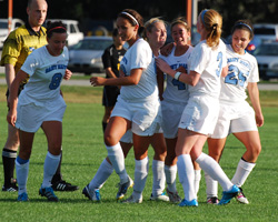 Maddie Meckes, Mollie Valencia, Katelyn Tondo-Steele, Kelly Wilson, Taylor Paton, and Ashley Morfin celebrate the game-winning goal.