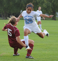 Abby Garcia is fouled during a challenge in the second half.