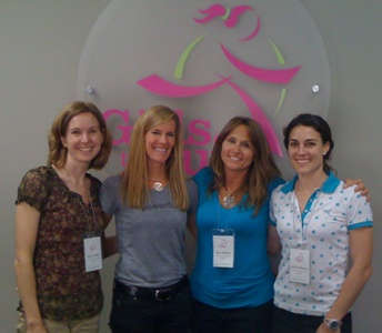 Jackie Bauters with the founder of Girls on the Run and her Michiana Council Co-Founders.