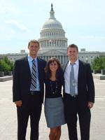 Lauren and two fellow interns in front of the Capitol.