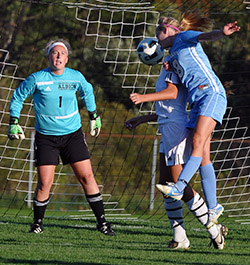 Maggie McLaughlin heads an attempt toward goal at Albion. (Photo by Lowell Mc Ginnis)