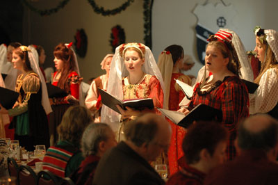 Saint Mary's College students performing at the Madrigal Dinners.