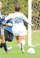 Ashley Morfin chips her shot in for the lone goal of the game on Saturday.