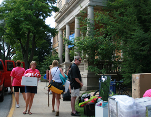 Saint Mary's College students move into iconic Holy Cross Hall.