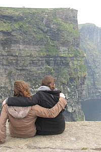 Olivia, right, and her friend, Megan Dempsey '12, admire the Cliffs of Moher in County Clare, Ireland.