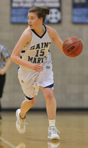 Patsy Mahoney had game-highs for points (19), assists (8), and steals (6) in the Belles' win.