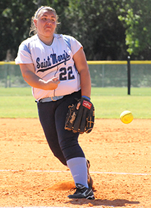 Callie Selner picked up victories in both games to take over the school record for career pitching wins.