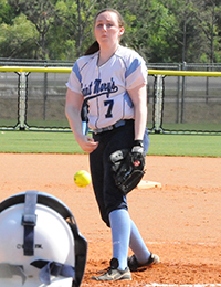 Sarah Burke had a career-high 11 strikeout effort in a tough 1-0 loss.