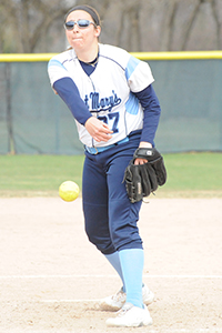 Mary Green earned her first collegiate pitching win in game two.