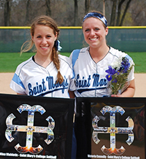 Seniors Nina Vlahiotis (left) and Victoria Connelly were recognized between games on Saturday.