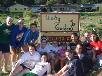 The Saint Mary's Basketball Team assisted at a unity garden in South Bend.