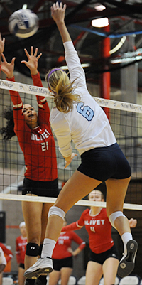 Katie Hecklinski hits one of her 17 kills on the night.