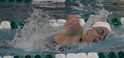 Ellie Watson finished sixth in the 200 freestyle on Friday night. (Photo courtesy of Bobby Lee, Albion SID)