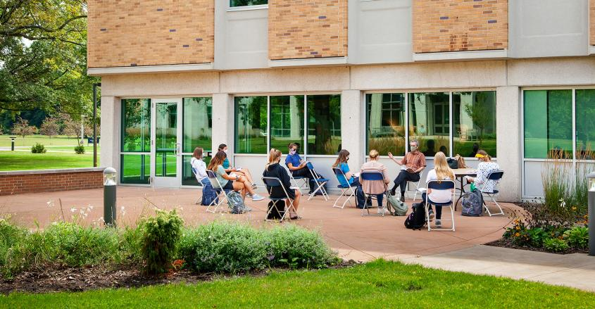 Outdoor class at Madeleva Hall