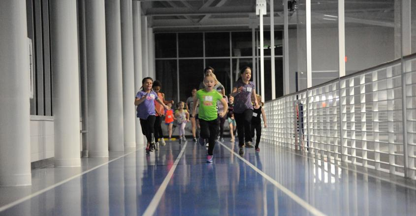 Girls running on the track