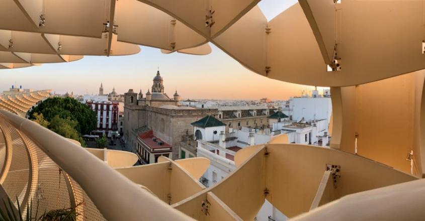 View at top of Las Setas, a wooden structure in the shape of a mushroom that overlooks Seville, Spain.