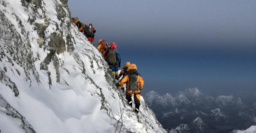 Group climbing mount everest