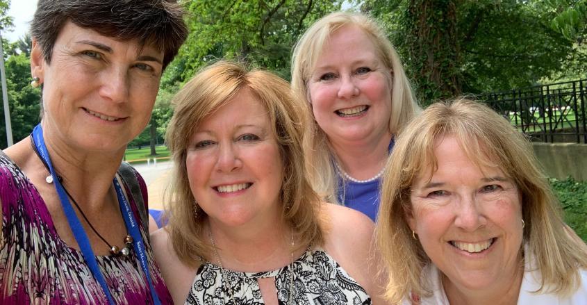 Janet Shafer Sabo '84, Ocean View, DE; Kathy McGrath Clarke '84, LaGrange, IL; Esther Fallon Breeding '84, Lexington, KY; Amy Marie VanDevere '84, Naples, FL.