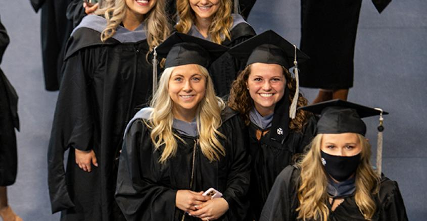Graduates lining up for 2021 Commencement