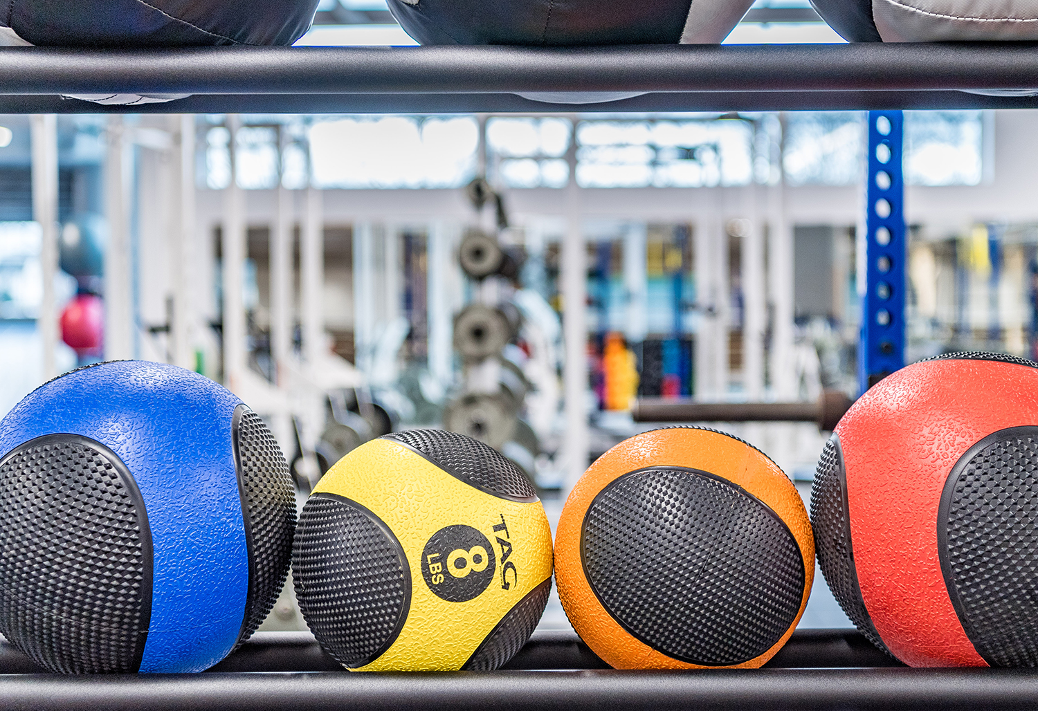 Colorful equipment in the weight training area